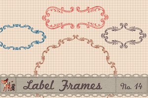 Retro Label Frames Shapes Set No 14