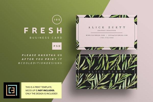 Business Card Templates: Cooledition - Fresh - Business Card 105