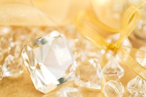 Crystal decor & Holiday Gold Ribbon