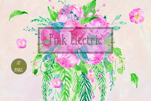Watercolor Clipart Pink Electric