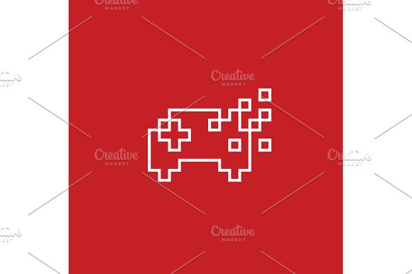 Game Joystick Pixel Vector Illustration Flat Style