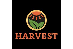 Logo horticulture crop plant soil style flat trend icon quality