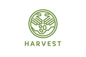 Logo outline horticulture crop plant soil style flat trend icon quality