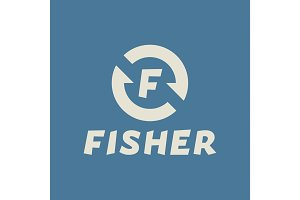 Logo abstract hook letter F, fisher flat trend