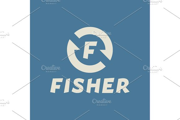 Logo Abstract Hook Letter F Fisher Flat Trend