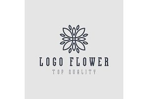 Logo abstract flower flat style vector illustration top quality