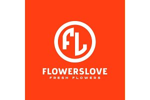 letter logo abbreviation flowers love the circle author icon illustration flat