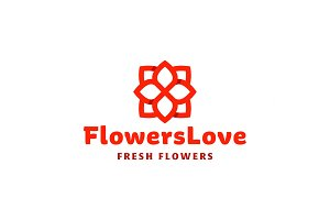 Flower love quality flat trend brand icon vector illustration