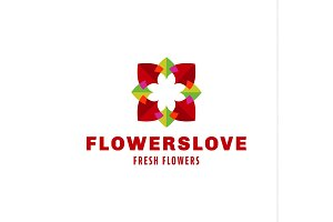 Flowers love logo trend brand icon vector illustration