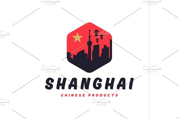 Shanghai City The Shadow China Building Sunset Red Vector Logo Illustrations Strong Trend Flat