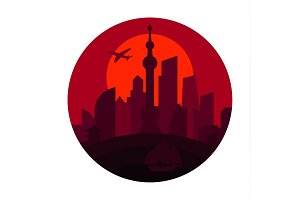 Shanghai city the shadow China building sunset red vector logo illustrations, strong trend flat