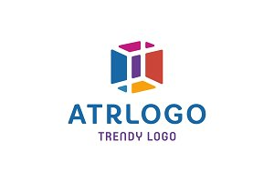 Trendy LOGOS in an Abstract color Cube Box into FLAT Style Vector illustrations art