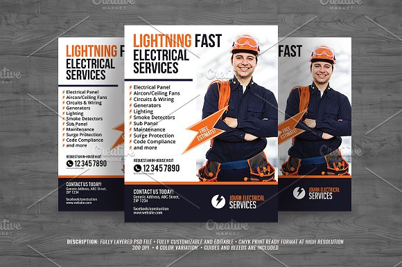 Electrical Service Flyer Templates Creative Market