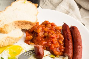 sausages grill,beans,fried eggs