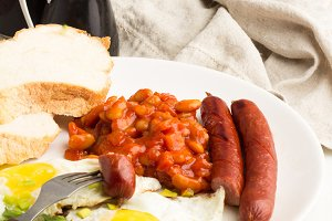 fried eggs,coffee,sausages grill