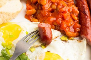 fried eggs,beans, sausages close-up