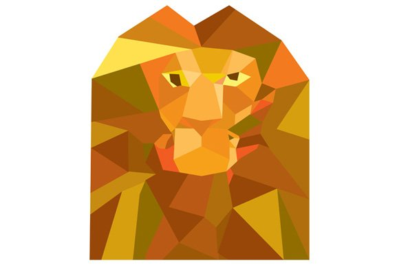 Lion Head Front Low Polygon