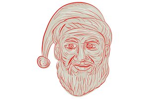 Melancholy Santa Claus Head Drawing