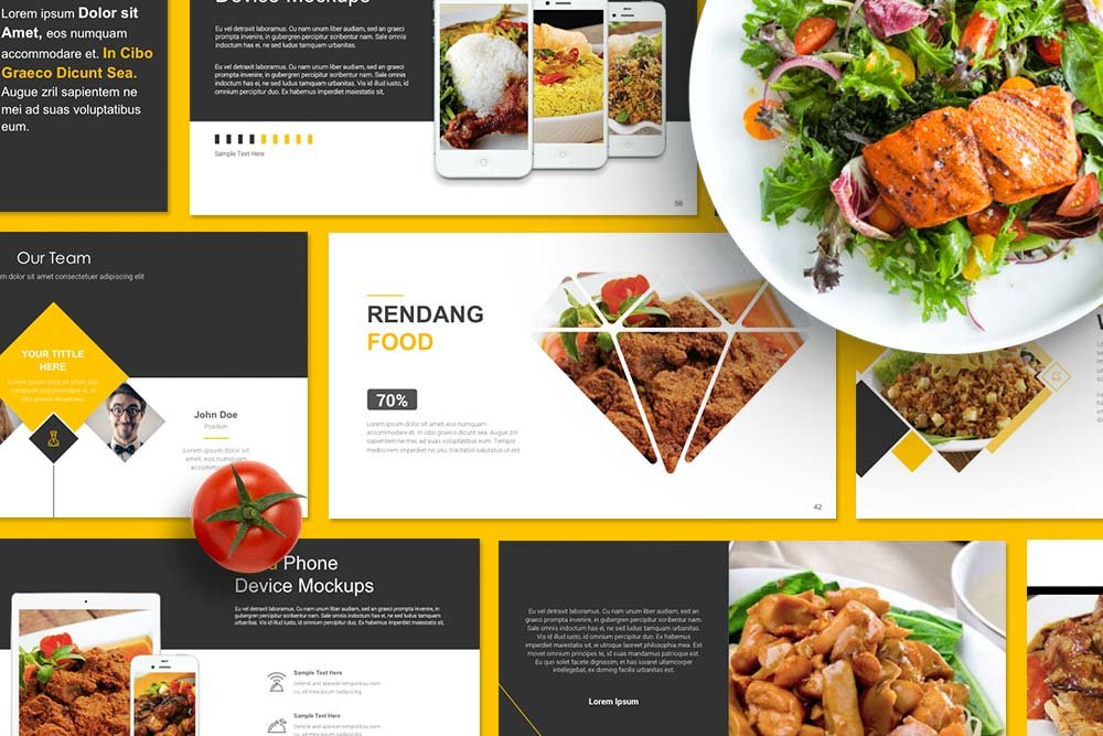 food presentation powerpoint presentation templates creative market. Black Bedroom Furniture Sets. Home Design Ideas