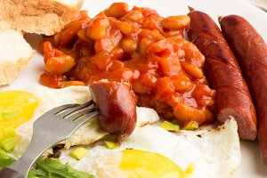 beans,sausages,eggs close-up