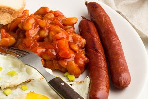 fried eggs,sausages,beans