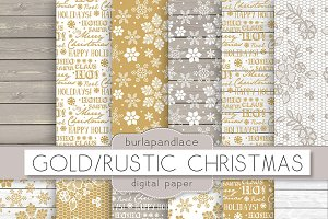 Gold/Rustic Christmas digital paper