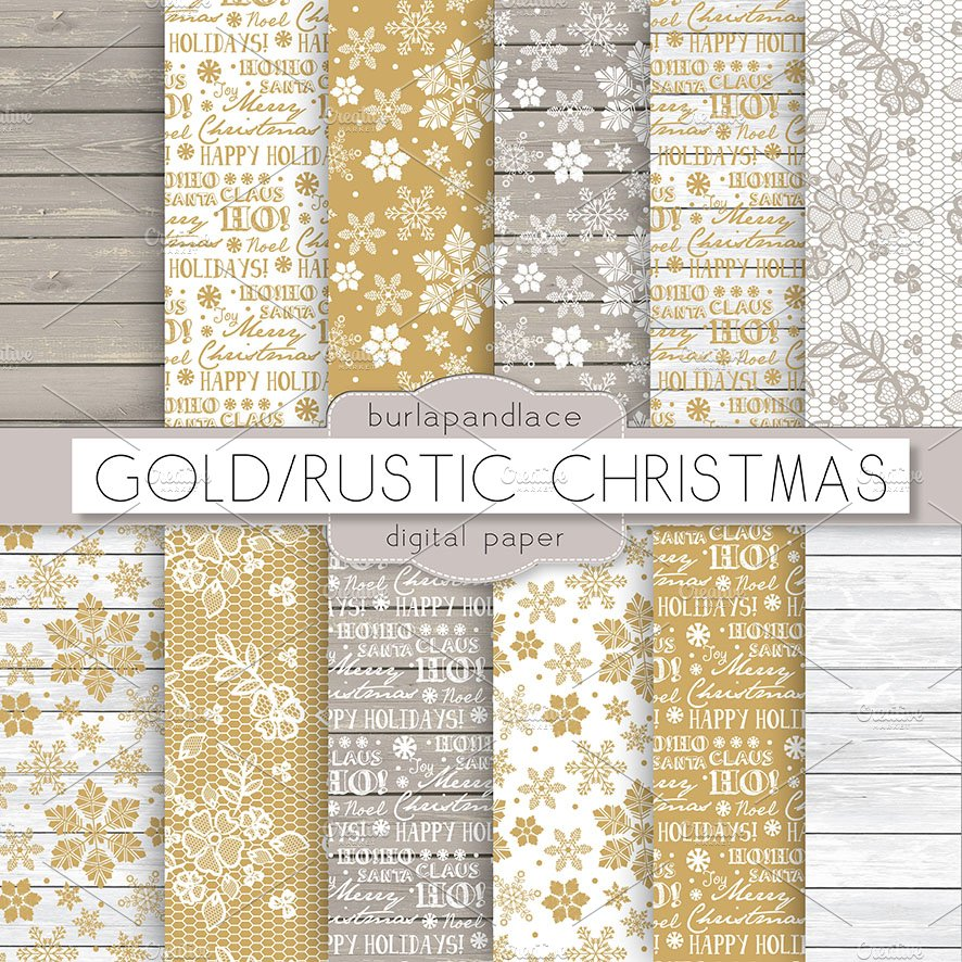 Gold Rustic Christmas Digital Paper Graphic Patterns Creative Market
