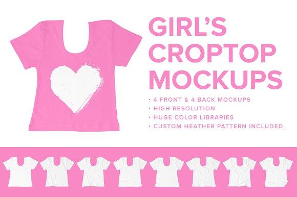 8 Premium Girl's Crop Top Mockups