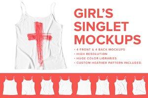 8 Premium Girl's Singlet Mockups