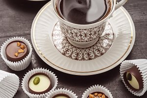 Two coffee cups and chocolate