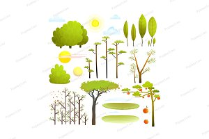 Trees landscape objects clip art