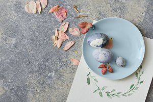 Easter eggs on blue plate