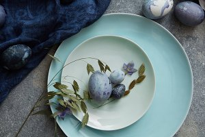 easter eggs with blue cloth