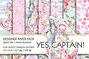 Yes Captain - Nautical Patterns