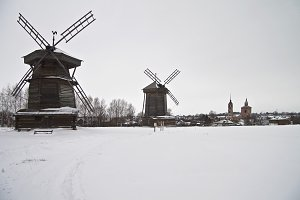 Old windmills in Suzdal Museum.
