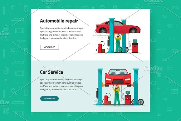 Car Auto Repair Shop Vector Banner