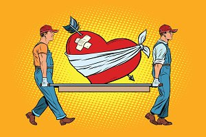 Valentine, wounded heart in love carry movers