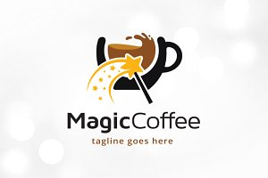Magic Coffee Logo Template Design