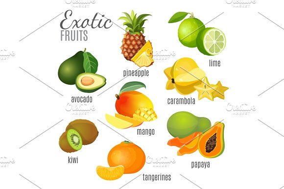 Exotic Fruits Avocado Pineapple Papaya Tangerine Mango Kiwi Carambola Lime