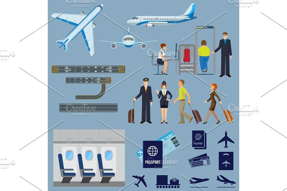Vector Flying Passenger Aircrafts Plane Check-in Pilot And Stewardess