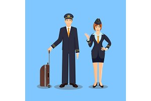 Pilot with brown suitcase and stewardess waving hand