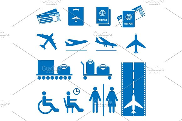 Airline Colourless Signs Set Passports And Tickets Airplane Flying Baggage
