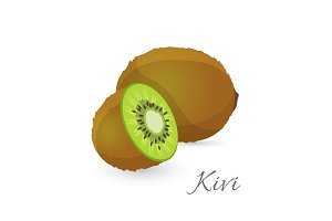 Kiwi exotic fruit whole and half. Kiwifruit gooseberry edible berry