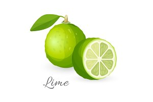 Lime exotic fruit whole and half. Green lemon edible berry