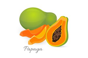 Papaya whole and half. Papaw, or pawpaw ediable exotic fruit.