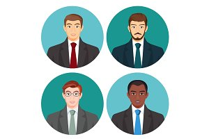 Businessman avatar four pictures vector set on white.