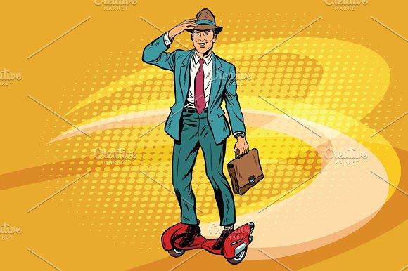 Retro Businessman On Steampunk Rocket Skateboard