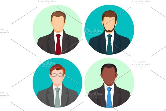 Businessman Avatar Four Pictures Vector Set On White