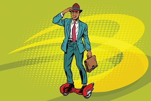 Retro businessman on steampunk rocket skateboard