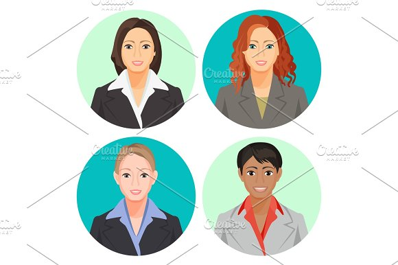 Avatar Businesswoman Portraits In Four Circles Vector User Pics